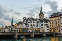 Embankment of Limmat river, Zurich, Switzerland Royalty Free Stock Images