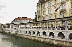 Embankment in Ljubljana town. Slovenija Stock Photography