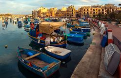 Birzebbuga. Local color, typical boats Luzzi. Embankment of the Maltese Gulf in the city of Birzebbudzha. Local color, typical boats Luzzi Royalty Free Stock Images