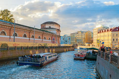 Embankment of Moika river and old historic buldings in center of St Petersburg, Russia Stock Photos