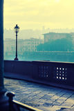 Embankment morning in Florence. View of the embankment morning in Florence .Photo executed in a range of cross processing Stock Image