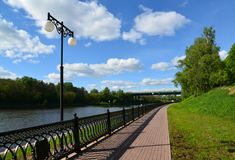 Embankment of Moscow Canal in Khimki, Russia Stock Photo