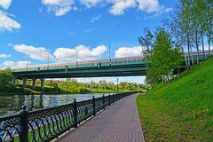 Embankment of Moscow Canal in Khimki, Russia Royalty Free Stock Image