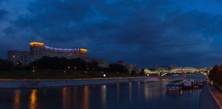 Embankment in Moscow in the evening stock image