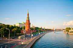 An embankment of Moscow Kremlin. Is in Russia. Sunset Royalty Free Stock Image