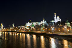 Embankment of the Moscow Kremlin at night. Ivan the Great Bell T Stock Photography