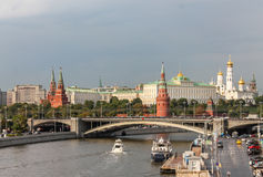 Embankment in Moscow on a rainy day, a view of the Kremlin Stock Images