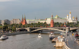 Embankment in Moscow on a rainy day, a view of the Kremlin Royalty Free Stock Photos