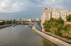 Embankment in Moscow on a rainy day Royalty Free Stock Image