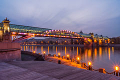 Embankment of the Moscow river. Andreevsky Bridge in the evening royalty free stock images