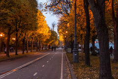 The Embankment of the Moscow river in the Autumn. Autumn 2013. Russia. Moscow.Central Park of Culture and Rest named after Gorky. Embankment of the Moscow river Stock Photo