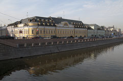 Embankment of Moscow river channel Stock Photo