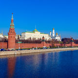 The embankment of the Moscow river with Kremlin, Russia Royalty Free Stock Photography