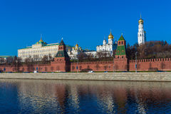 The embankment of the Moscow river with Kremlin, Russia Royalty Free Stock Image