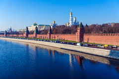 The embankment of the Moscow river with Kremlin, Russia Stock Photography