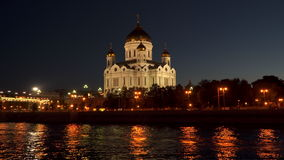 Embankment of Moscow River near the Cathedral of Christ the Savior. At night. Moscow, Russia stock video