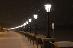 Embankment moscow-river winter 2018 cold snowfall Moscow Russia royalty free stock images