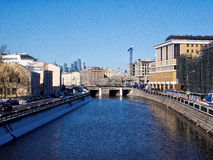 Embankment of the Moscow river in the winter Royalty Free Stock Images