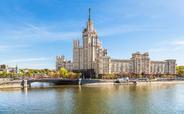 Embankment of Moscow with Stalin`s skyscraper Royalty Free Stock Image