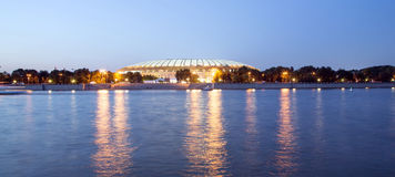 Embankment of the Moskva River and Luzhniki Stadium, night view Royalty Free Stock Photo