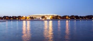 Embankment of the Moskva River and Luzhniki Stadium, night view Royalty Free Stock Photo