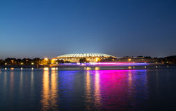 Embankment of the Moskva River and Luzhniki Stadium, night view Royalty Free Stock Photos