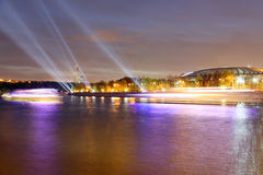 Embankment of the Moskva River and Luzhniki Stadium, night view, Moscow, Russia Royalty Free Stock Photography