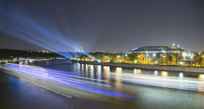Embankment of the Moskva River and Luzhniki Stadium, night view, Moscow, Russia Royalty Free Stock Photo