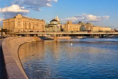 Embankment of the Moskva River. Moscow in the golden light, the center of the city royalty free stock photos