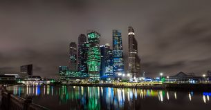 Embankment of the Moskva river near the business center. Night photo, panorama Royalty Free Stock Photography