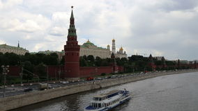 Embankment of the Moskva River near the Moscow Kremlin and the daily traffic, Moscow, Russia Stock Image