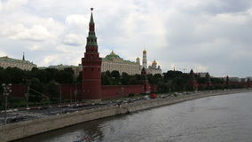 Embankment of the Moskva River near the Moscow Kremlin and the daily traffic, Moscow, Russia Stock Photos