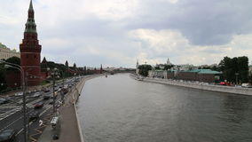 Embankment of the Moskva River near the Moscow Kremlin and the daily traffic, Moscow, Russia Stock Images