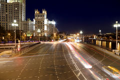 Embankment of the Moskva River and the night traffic, Moscow, Russia Stock Images