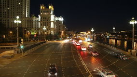 Embankment of the Moskva River and the night traffic, Moscow, Russia.  stock video footage