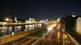 Embankment of the Moskva River and the night traffic, Moscow, Russia.  stock footage