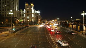 Embankment of the Moskva River and the night traffic, Moscow, Russia stock video footage