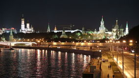 Embankment of the Moskva River and the night traffic, Moscow, Russia stock footage