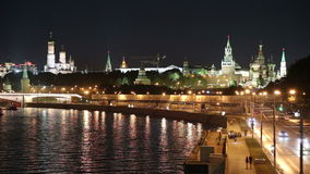 Embankment of the Moskva River and the night traffic, Moscow, Russia Stock Image