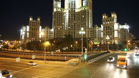 Embankment of the Moskva River and the night traffic, Moscow, Russia.  stock video