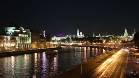 Embankment of the Moskva River and the night traffic, Moscow, Russia stock video