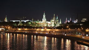 Embankment of the Moskva River and the night traffic, Moscow, Russia Stock Photo