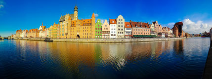 Embankment of Motlawa in Gdansk. Old town of Gdansk - panorama of Motlawa embankment with colorful gothic facades of old houses, Gdansk, Poland Royalty Free Stock Photo