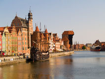 Embankment  of Motlawa river, Gdansk. Old town on Moltawa river , Gdansk, Poland Royalty Free Stock Photography