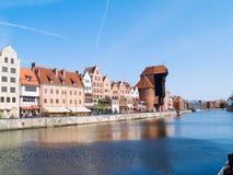 Embankment  of Motlawa river, Gdansk. Old town on Motlawa river , Gdansk, Poland Stock Photos