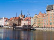 Embankment  of Motlawa river, Gdansk. Old town on Motlawa river , Gdansk, Poland Royalty Free Stock Image