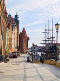 Embankment  of Motlawa river, Gdansk. Old town on Motlawa river , Gdansk, Poland Stock Image