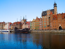 Embankment  of Motlawa river, Gdansk. Old town on Motlawa river , Gdansk, Poland Royalty Free Stock Photos
