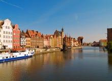 Embankment  of Motlawa river, Gdansk. Old town on Motlawa river , Gdansk, Poland Stock Photo