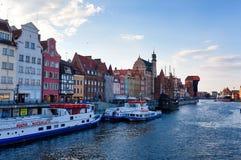Embankment of Motlawa river, Gdansk. Old city on Motlawa river, Gdansk, Poland Stock Photography
